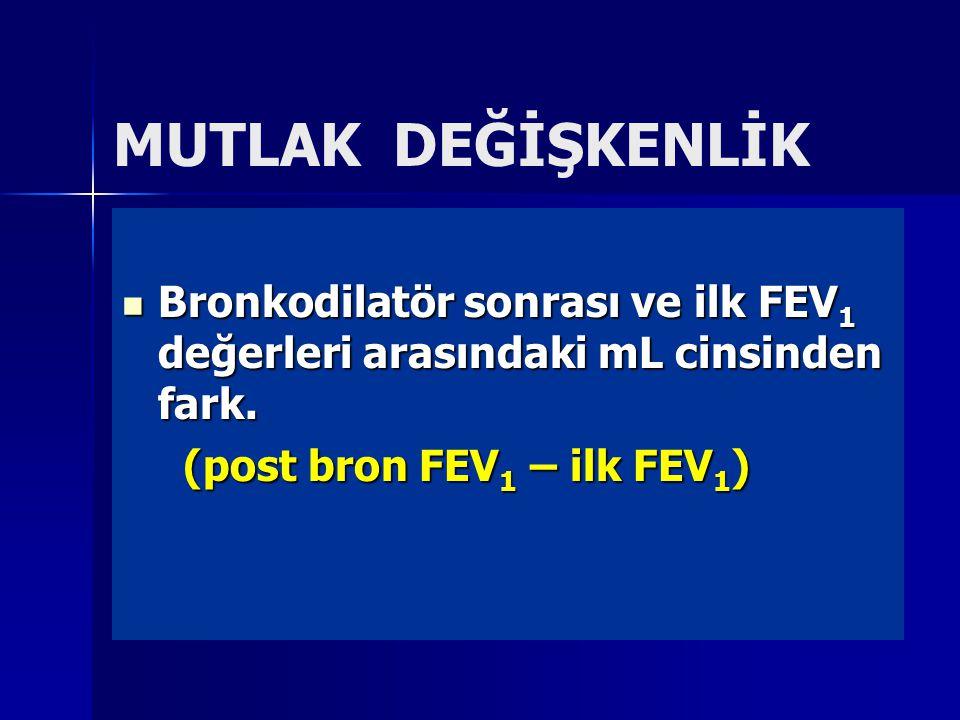 MUTLAK DEĞİŞKENLİK Bronkodilatör sonrası ve ilk FEV1 değerleri arasındaki mL cinsinden fark.