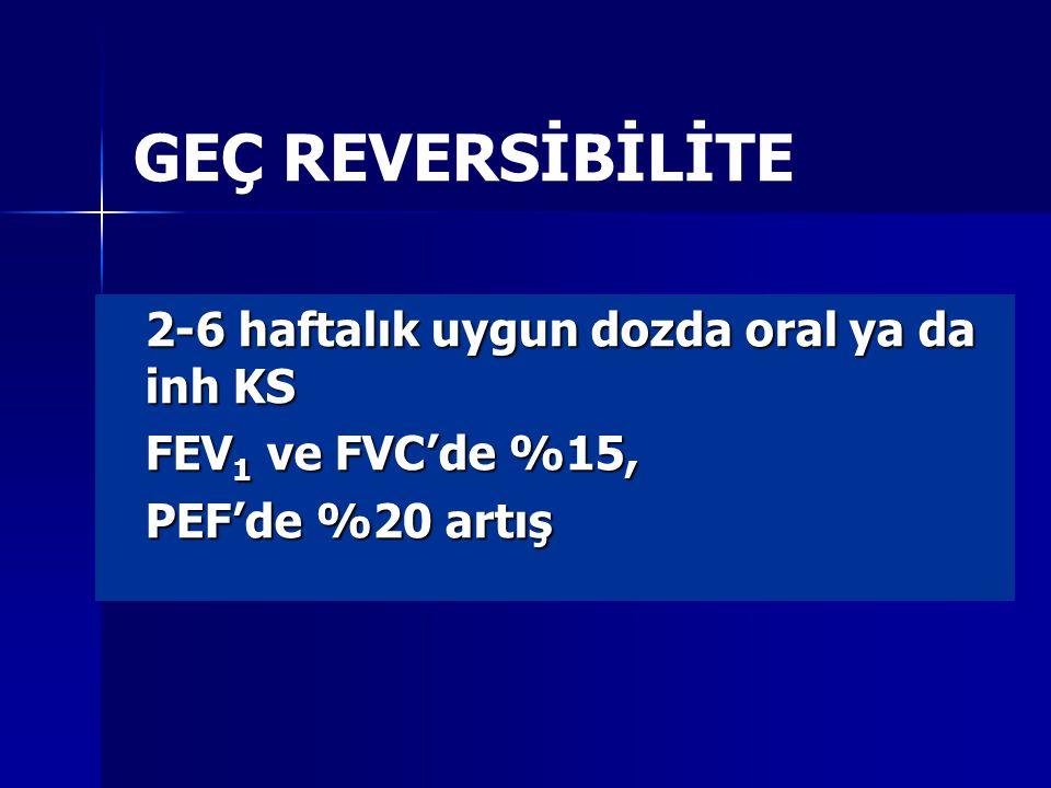 GEÇ REVERSİBİLİTE 2-6 haftalık uygun dozda oral ya da inh KS