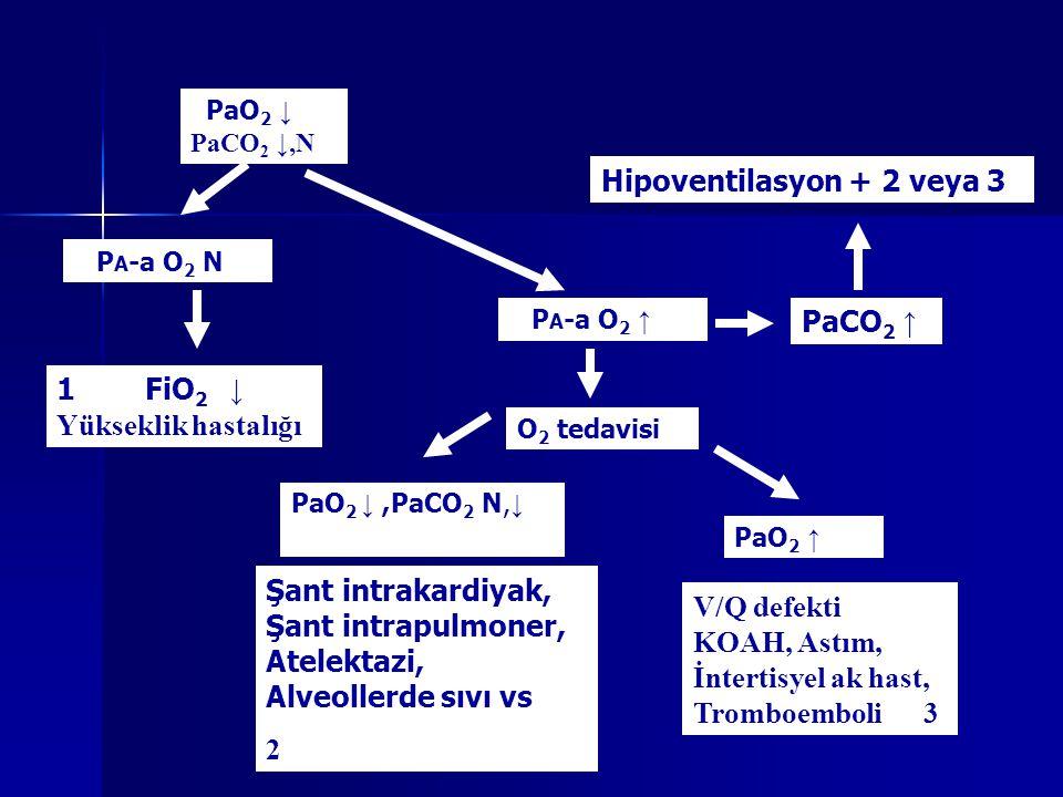 Hipoventilasyon + 2 veya 3