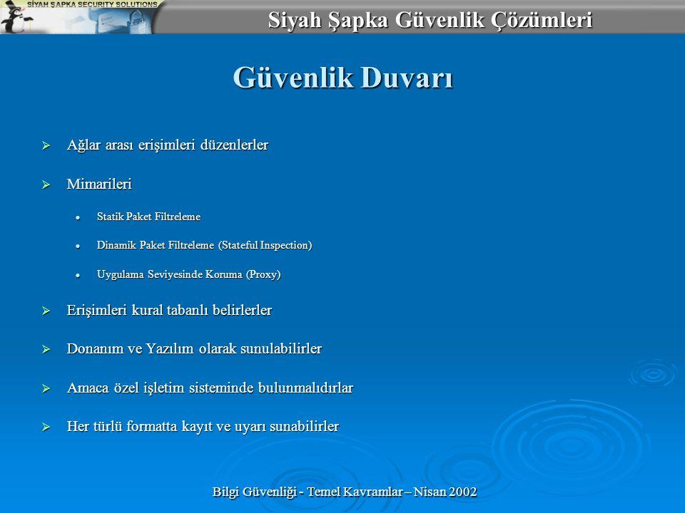 Bilgi Güvenliği - Temel Kavramlar – Nisan 2002