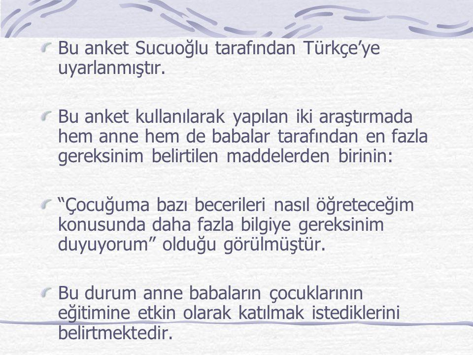 Bu anket Sucuoğlu tarafından Türkçe'ye uyarlanmıştır.