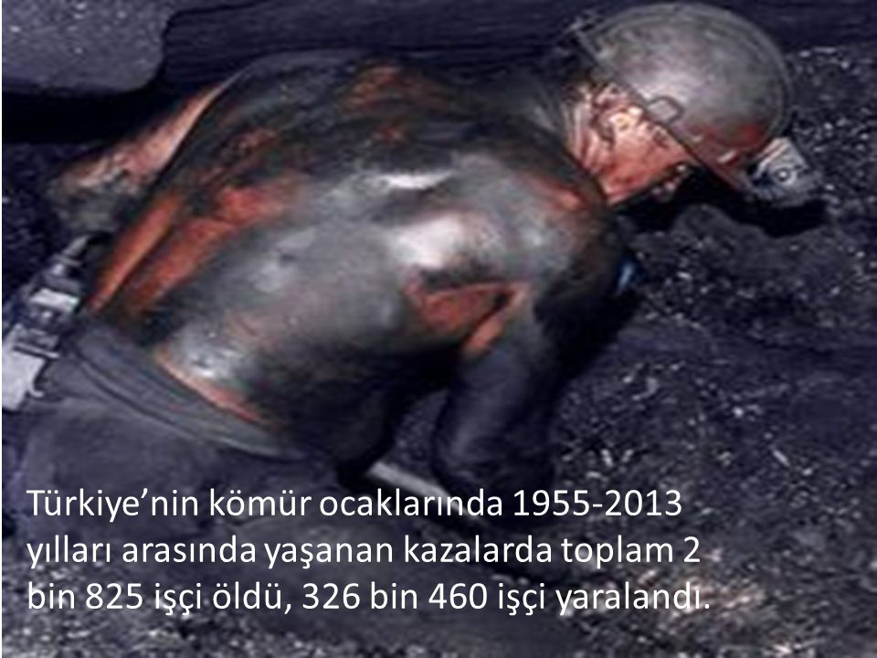 Türkiye'nin kömür ocaklarında 1955-2013 yılları arasında yaşanan kazalarda toplam 2 bin 825 işçi öldü, 326 bin 460 işçi yaralandı.