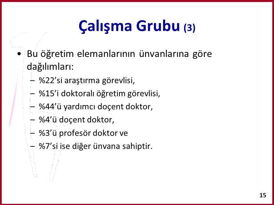 Çalışma Grubu (3) Bu öğretim elemanlarının ünvanlarına göre dağılımları: %22'si araştırma görevlisi,