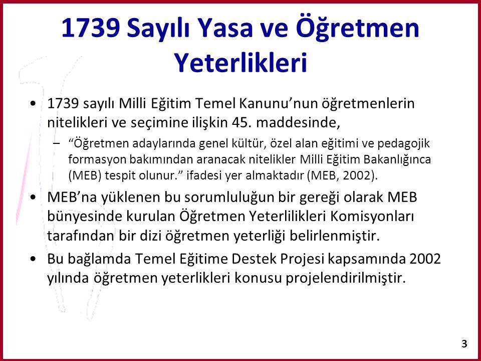 1739 Sayılı Yasa ve Öğretmen Yeterlikleri