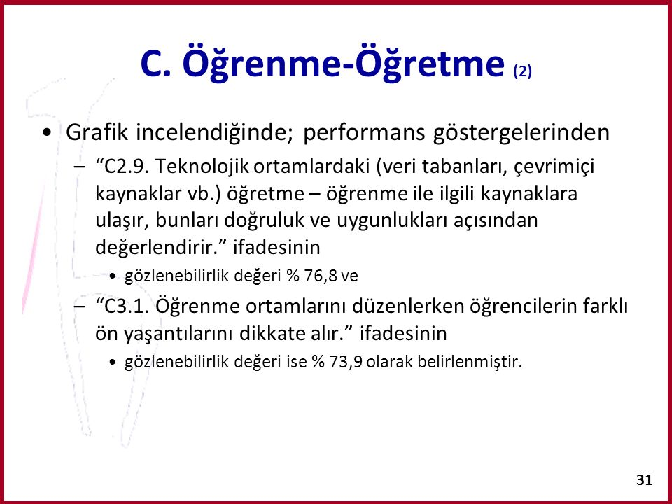C. Öğrenme-Öğretme (2) Grafik incelendiğinde; performans göstergelerinden.