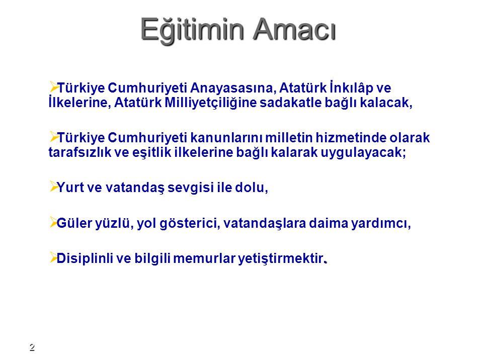 Eğitimin Amacı Türkiye Cumhuriyeti Anayasasına, Atatürk İnkılâp ve İlkelerine, Atatürk Milliyetçiliğine sadakatle bağlı kalacak,