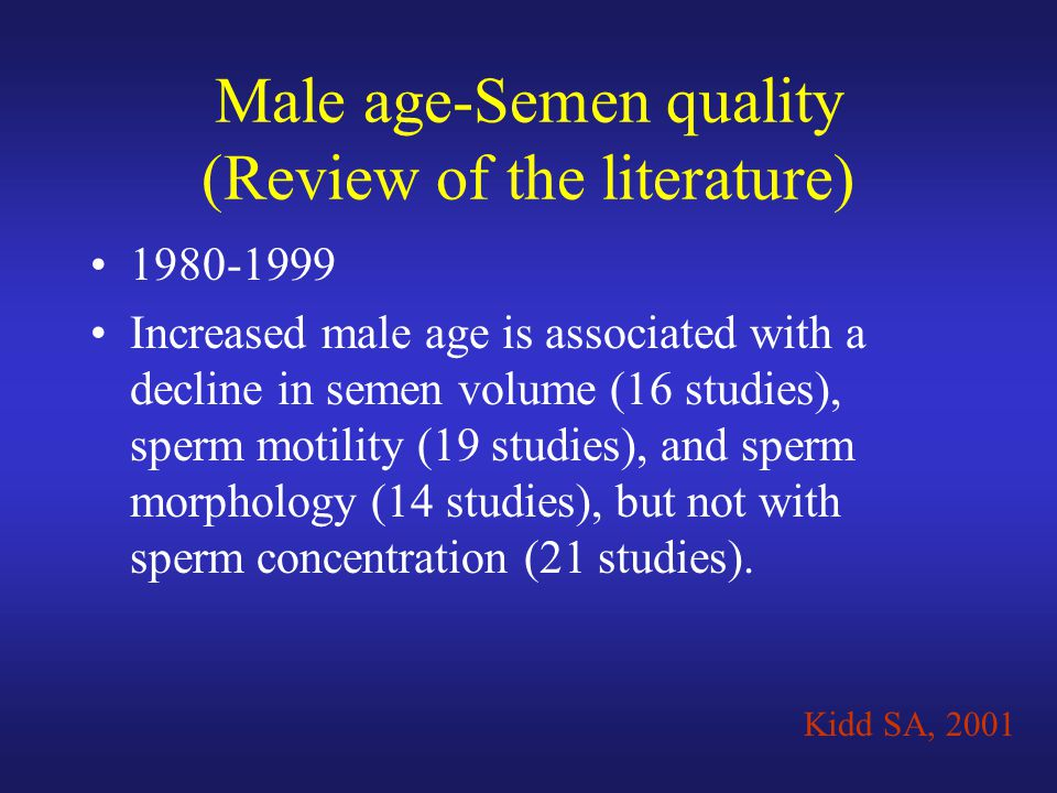Male age-Semen quality (Review of the literature)
