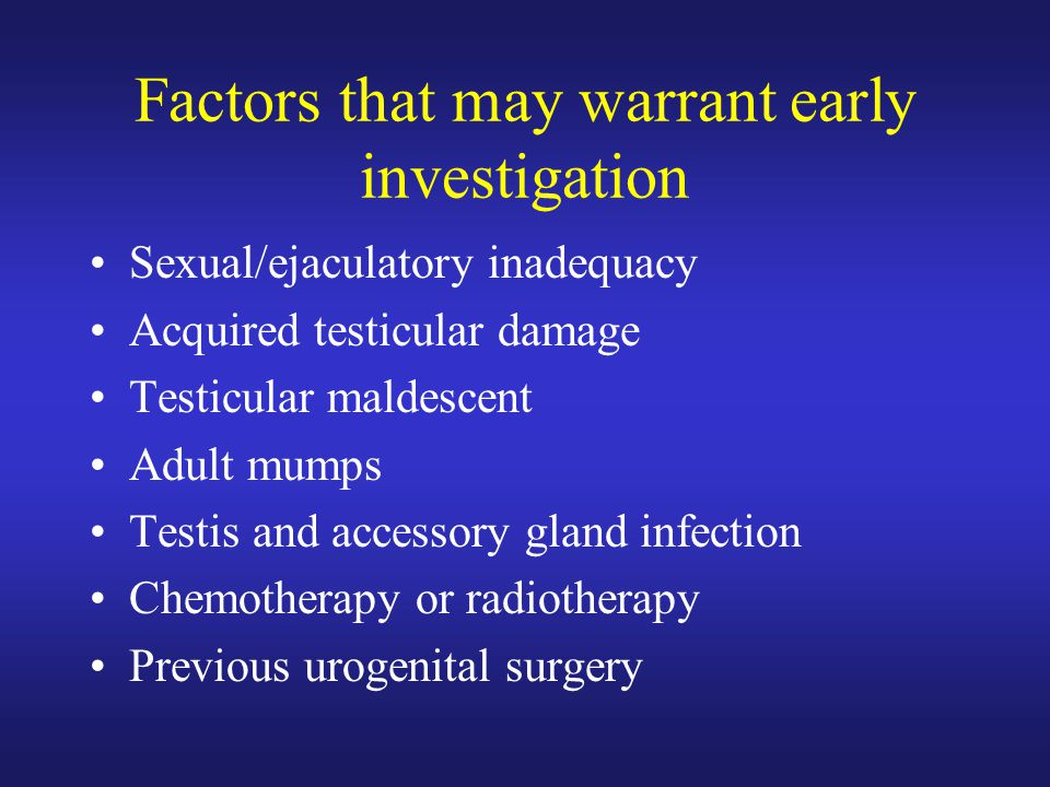 Factors that may warrant early investigation
