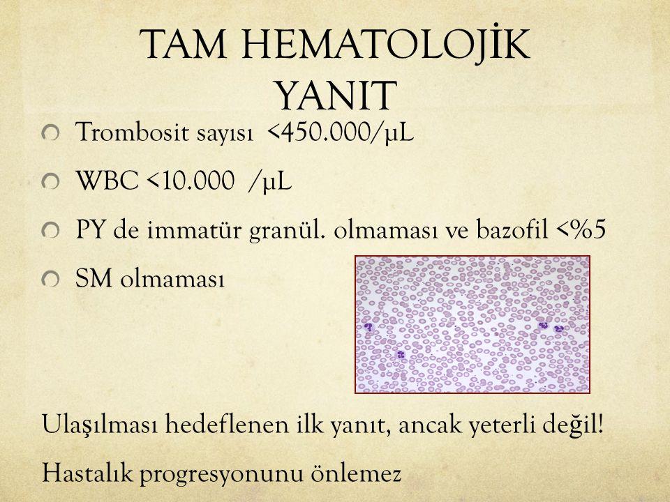 TAM HEMATOLOJİK YANIT Trombosit sayısı <450.000/µL