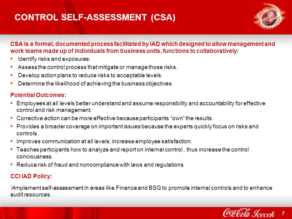 CONTROL SELF-ASSESSMENT (CSA)