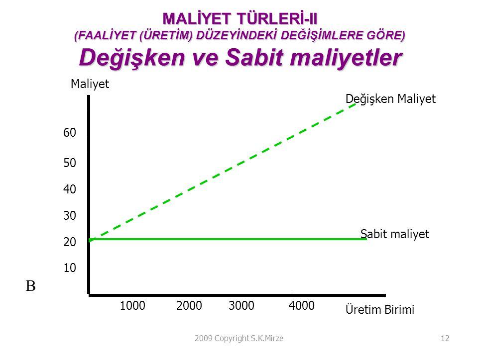 MALİYET TÜRLERİ-II (FAALİYET (ÜRETİM) DÜZEYİNDEKİ DEĞİŞİMLERE GÖRE) Değişken ve Sabit maliyetler