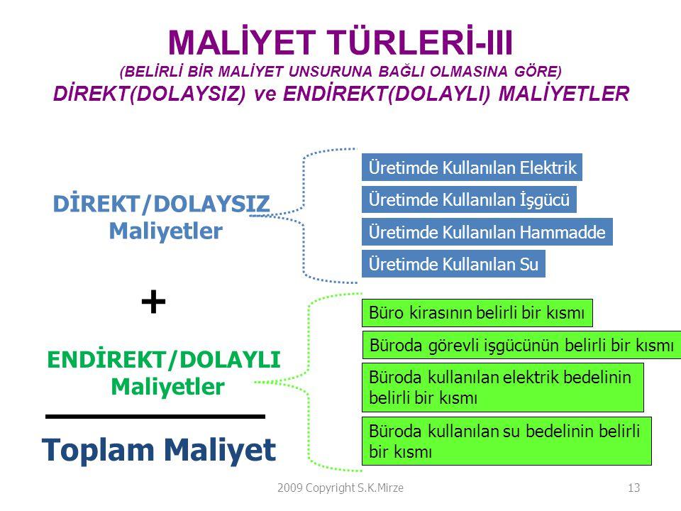 MALİYET TÜRLERİ-III (BELİRLİ BİR MALİYET UNSURUNA BAĞLI OLMASINA GÖRE) DİREKT(DOLAYSIZ) ve ENDİREKT(DOLAYLI) MALİYETLER