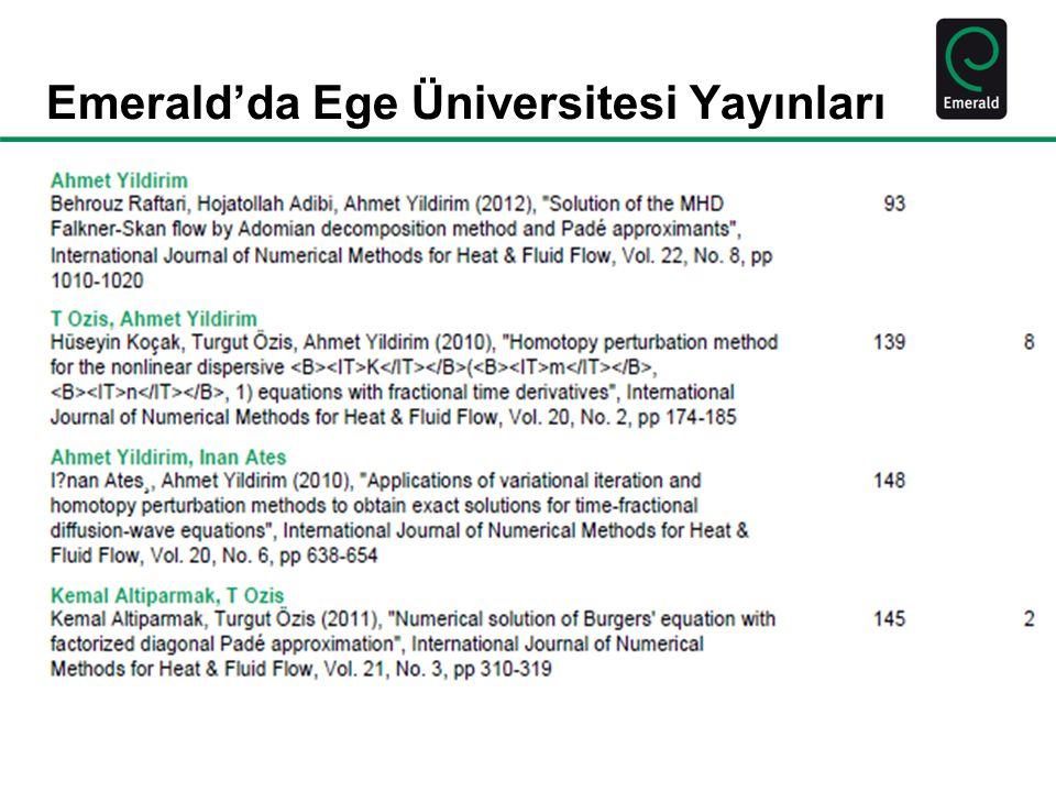 Emerald'da Ege Üniversitesi Yayınları