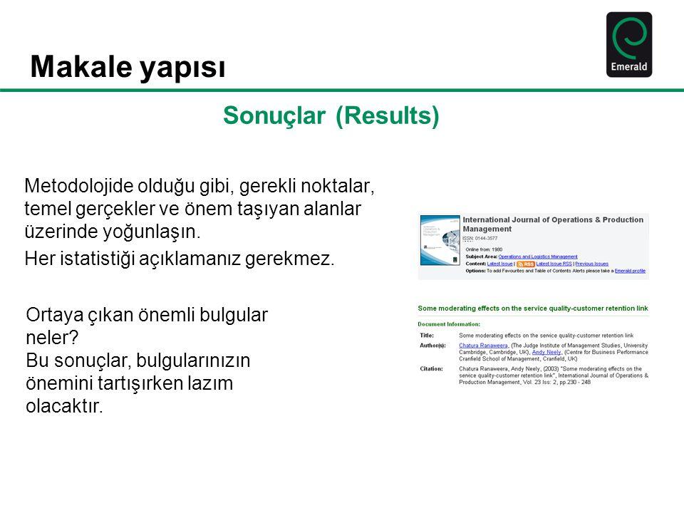 Makale yapısı Sonuçlar (Results)