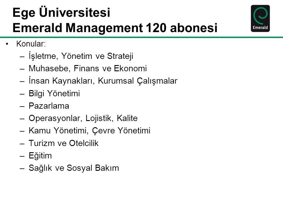 Ege Üniversitesi Emerald Management 120 abonesi