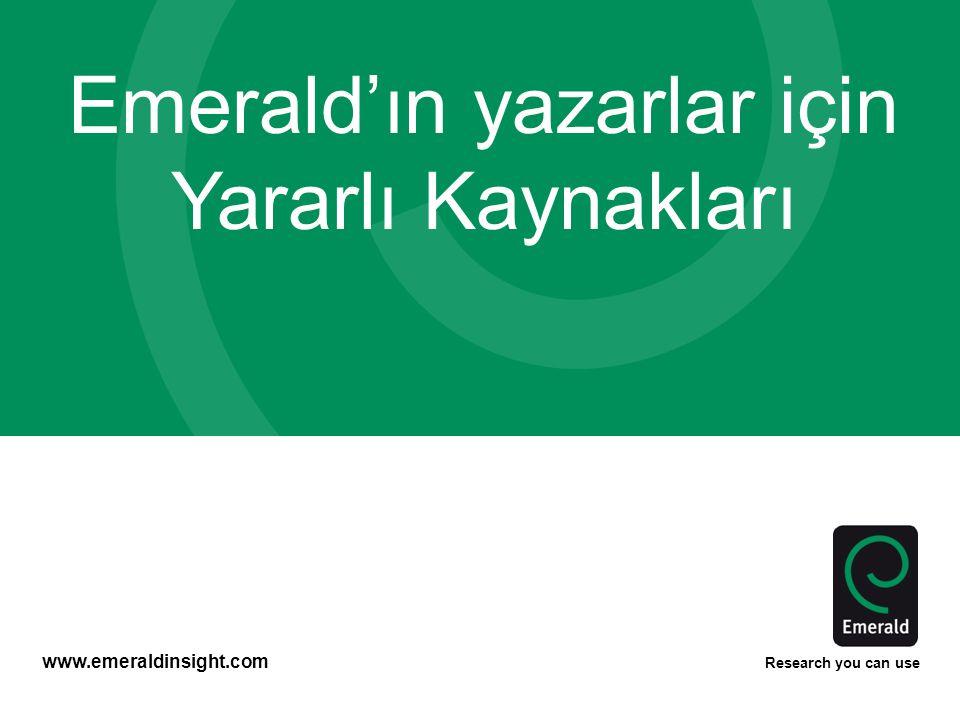 Emerald'ın yazarlar için Yararlı Kaynakları