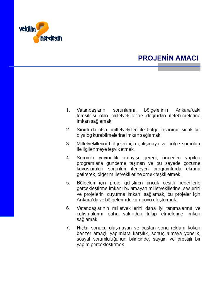 PROJENİN AMACI Vatandaşların sorunlarını, bölgelerinin Ankara'daki temsilcisi olan milletvekillerine doğrudan iletebilmelerine imkan sağlamak.