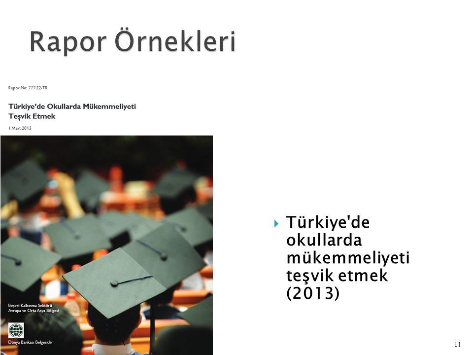 Rapor Örnekleri Türkiye de okullarda mükemmeliyeti teşvik etmek (2013)