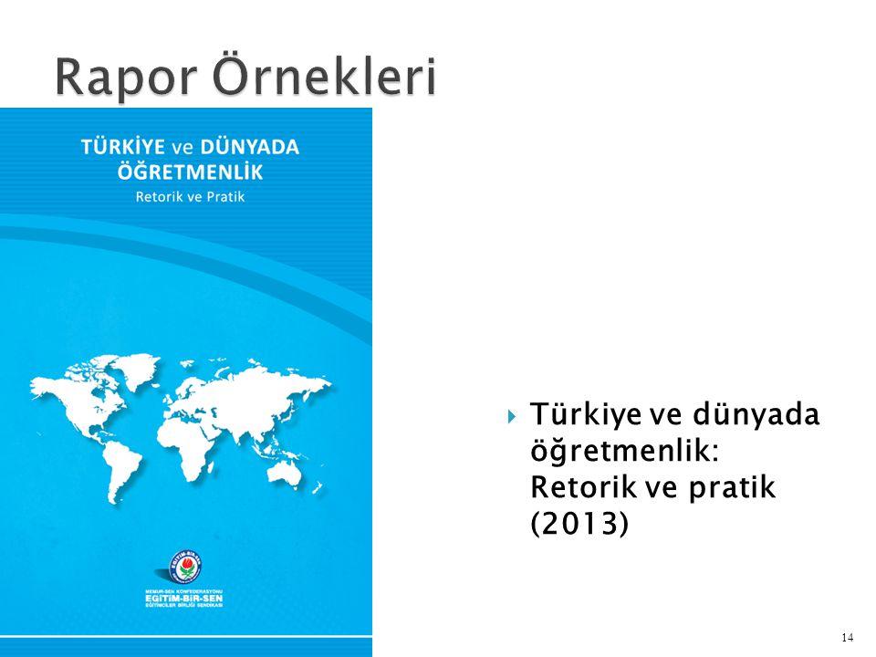 Rapor Örnekleri Türkiye ve dünyada öğretmenlik: Retorik ve pratik (2013)