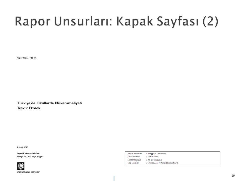 Rapor Unsurları: Kapak Sayfası (2)