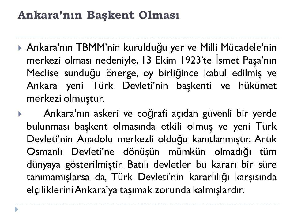 Ankara'nın Başkent Olması
