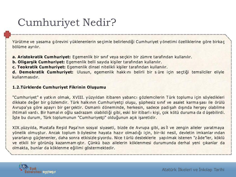 Cumhuriyet Nedir Atatürk İlkeleri ve İnkılap Tarihi