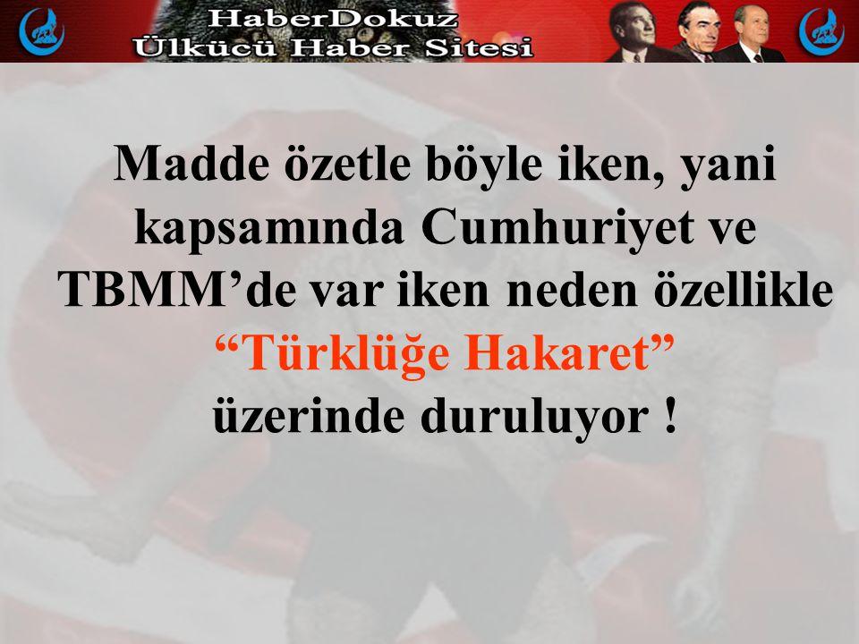 Madde özetle böyle iken, yani kapsamında Cumhuriyet ve TBMM'de var iken neden özellikle Türklüğe Hakaret