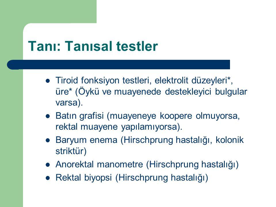 Tanı: Tanısal testler Tiroid fonksiyon testleri, elektrolit düzeyleri*, üre* (Öykü ve muayenede destekleyici bulgular varsa).