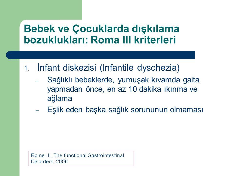 Bebek ve Çocuklarda dışkılama bozuklukları: Roma III kriterleri
