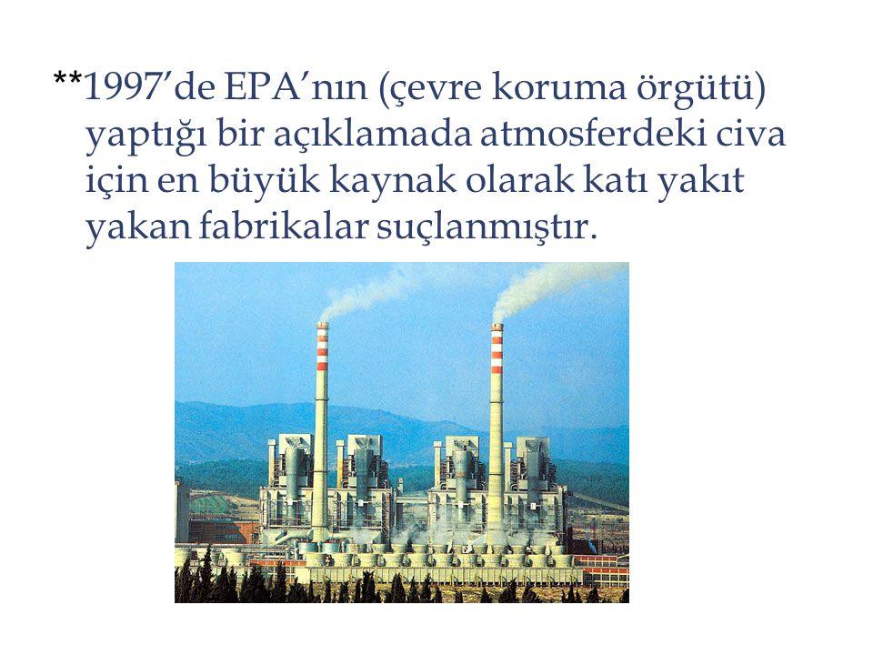 **1997'de EPA'nın (çevre koruma örgütü) yaptığı bir açıklamada atmosferdeki civa için en büyük kaynak olarak katı yakıt yakan fabrikalar suçlanmıştır.