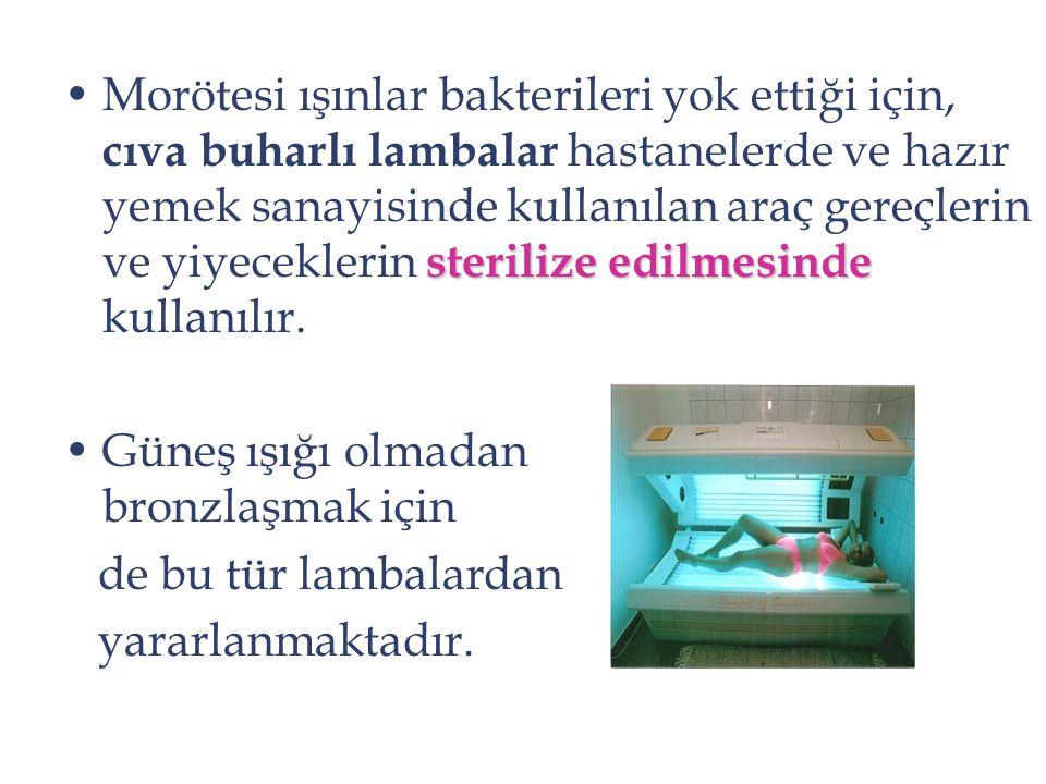 Morötesi ışınlar bakterileri yok ettiği için, cıva buharlı lambalar hastanelerde ve hazır yemek sanayisinde kullanılan araç gereçlerin ve yiyeceklerin sterilize edilmesinde kullanılır.