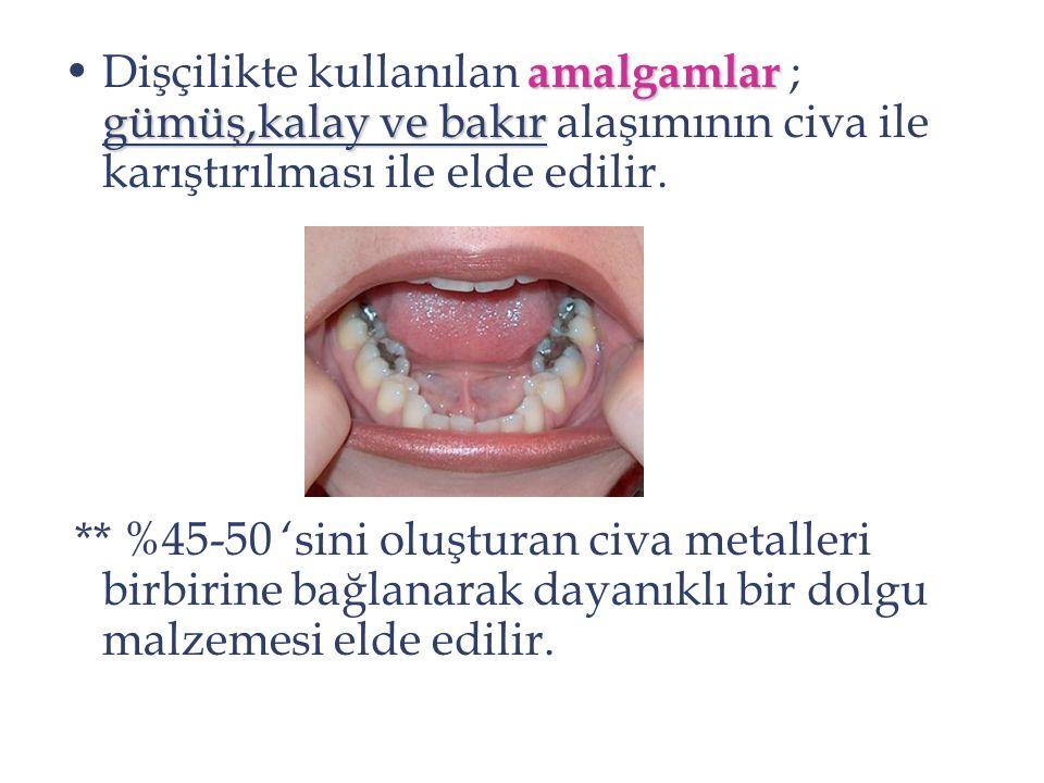 Dişçilikte kullanılan amalgamlar ; gümüş,kalay ve bakır alaşımının civa ile karıştırılması ile elde edilir.