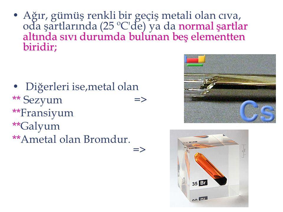 Ağır, gümüş renkli bir geçiş metali olan cıva, oda şartlarında (25 ºC de) ya da normal şartlar altında sıvı durumda bulunan beş elementten biridir;