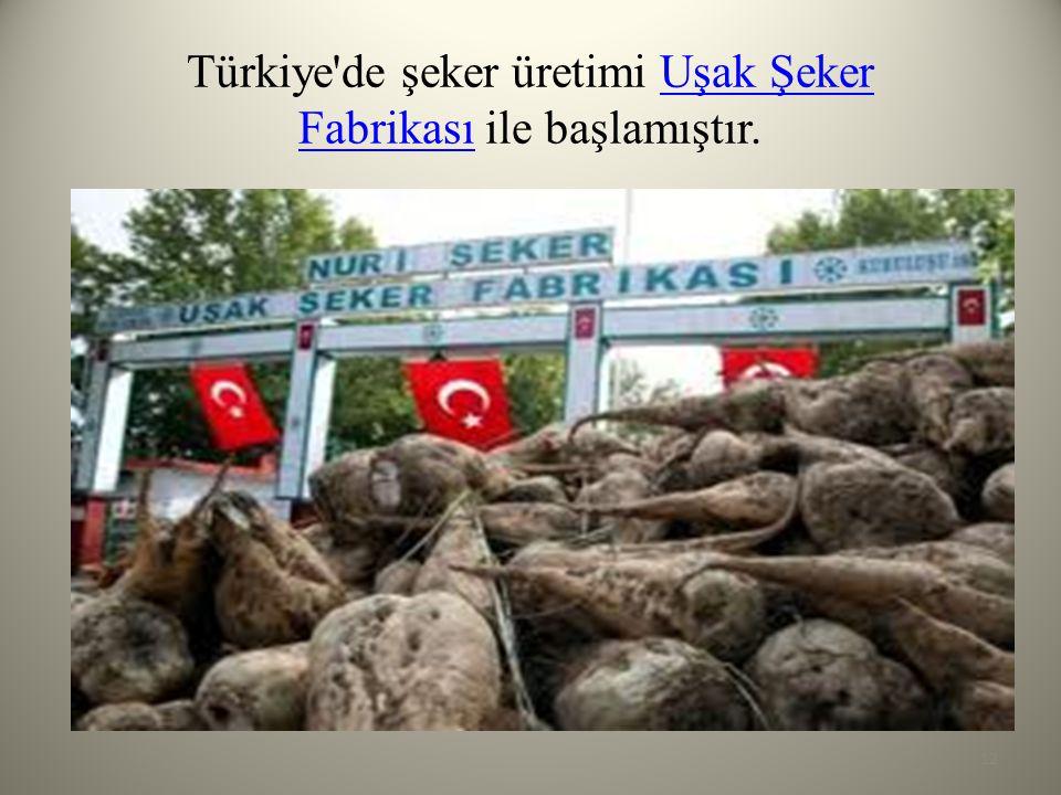 Türkiye de şeker üretimi Uşak Şeker Fabrikası ile başlamıştır.