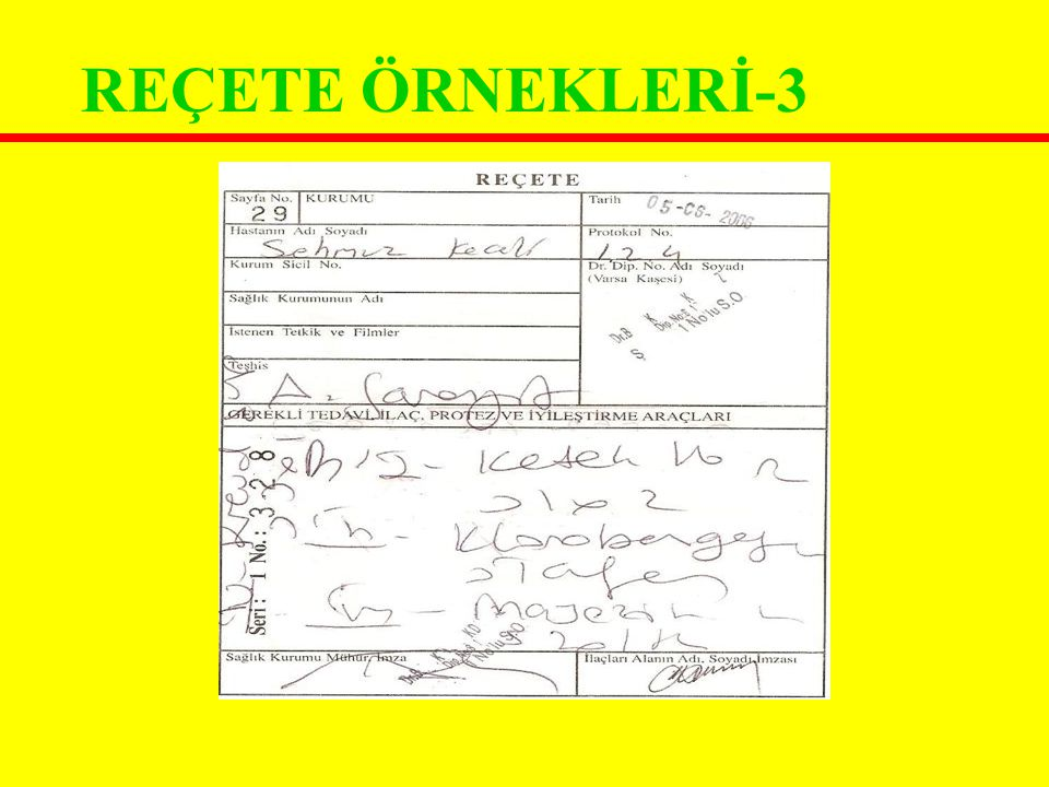 REÇETE ÖRNEKLERİ-3