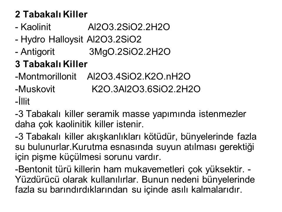 2 Tabakalı Killer - Kaolinit Al2O3.2SiO2.2H2O. - Hydro Halloysit Al2O3.2SiO2. - Antigorit 3MgO.2SiO2.2H2O.