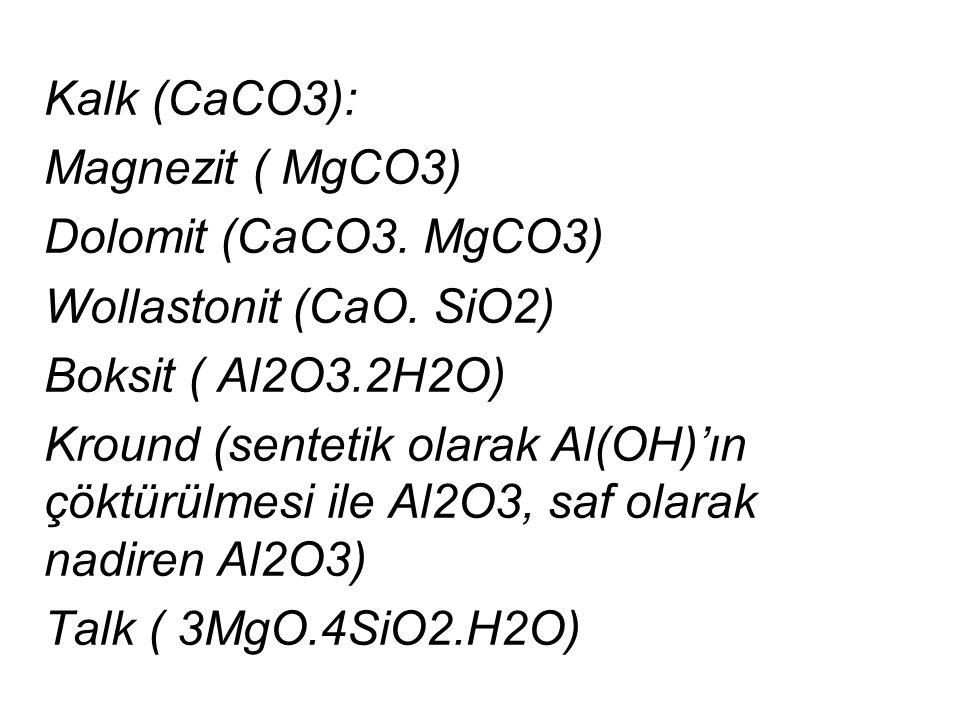 Kalk (CaCO3): Magnezit ( MgCO3) Dolomit (CaCO3. MgCO3) Wollastonit (CaO. SiO2) Boksit ( Al2O3.2H2O)