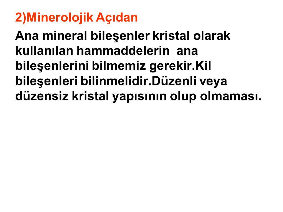 2)Minerolojik Açıdan