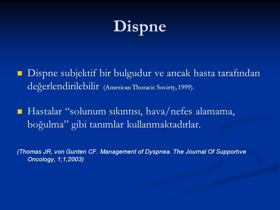 Dispne Dispne subjektif bir bulgudur ve ancak hasta tarafından değerlendirilebilir (American Thoracic Society, 1999).