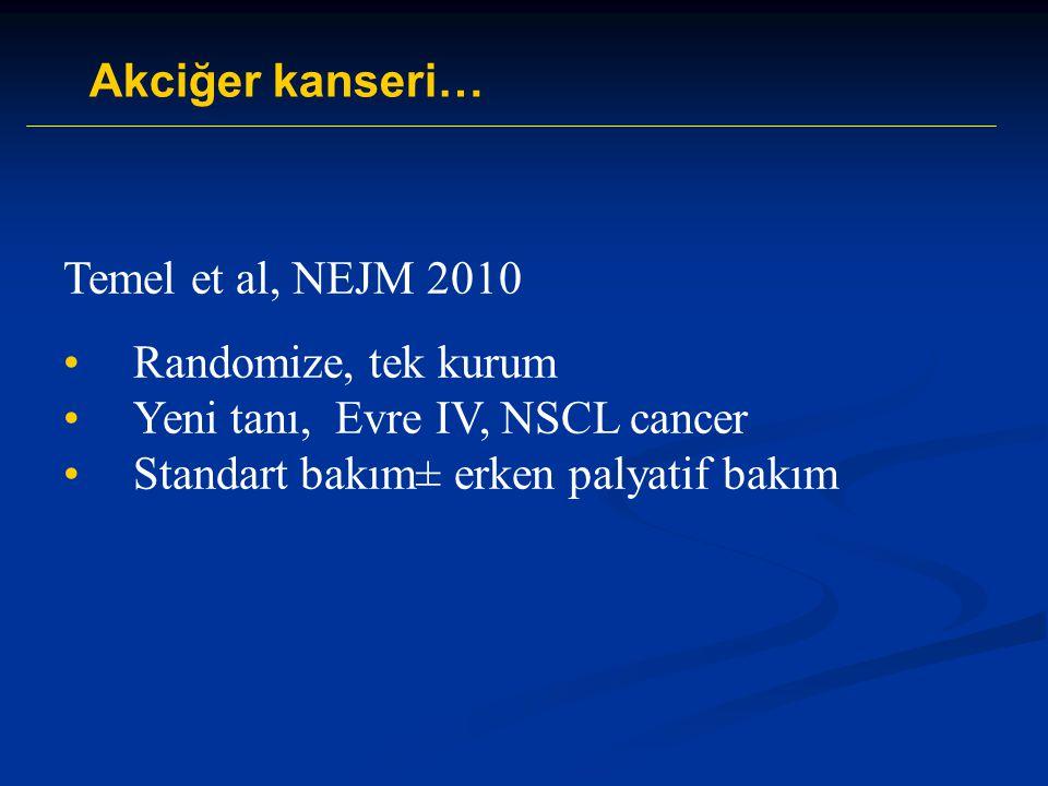 Akciğer kanseri… Temel et al, NEJM 2010. Randomize, tek kurum.