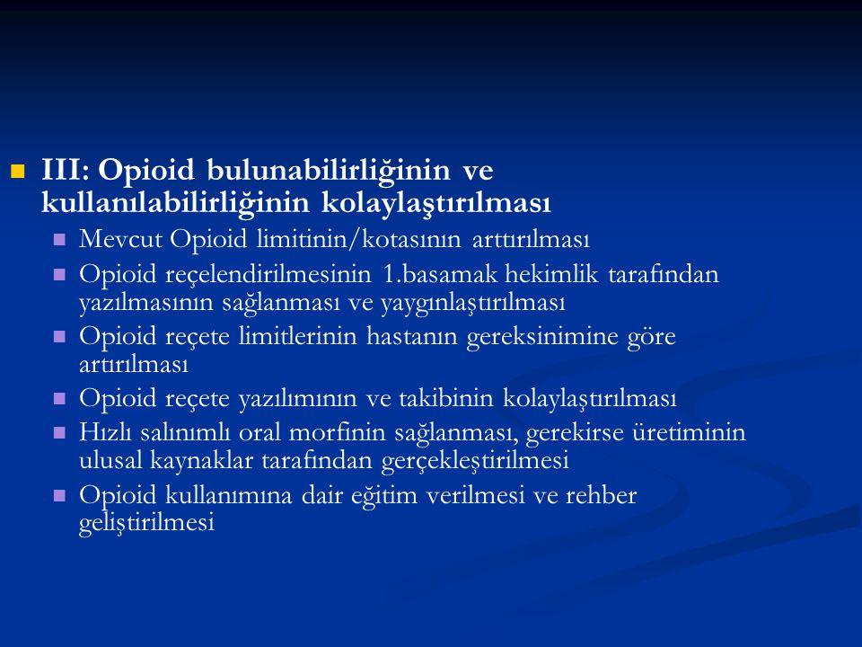 III: Opioid bulunabilirliğinin ve kullanılabilirliğinin kolaylaştırılması