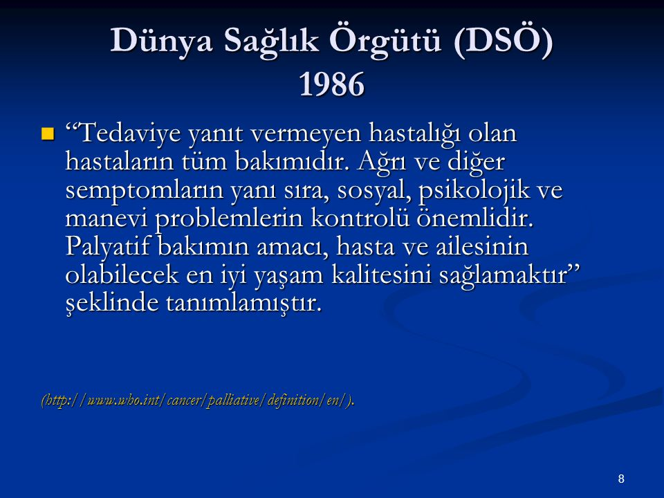 Dünya Sağlık Örgütü (DSÖ) 1986