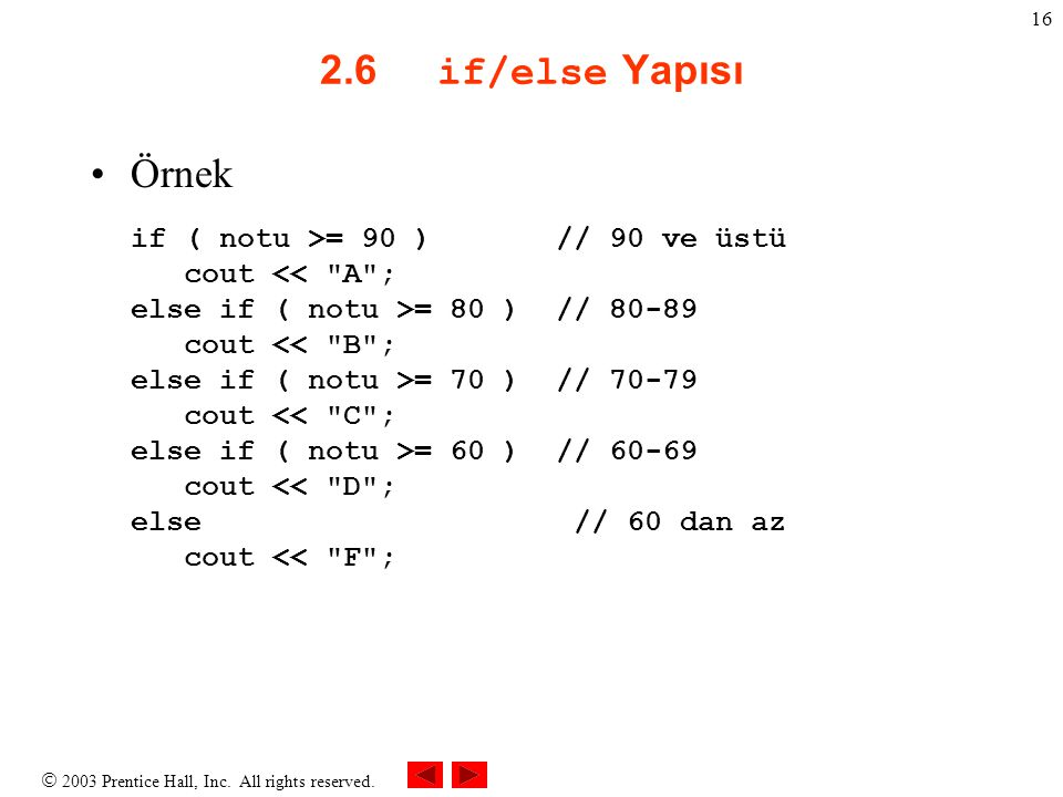 2.6 if/else Yapısı Örnek.