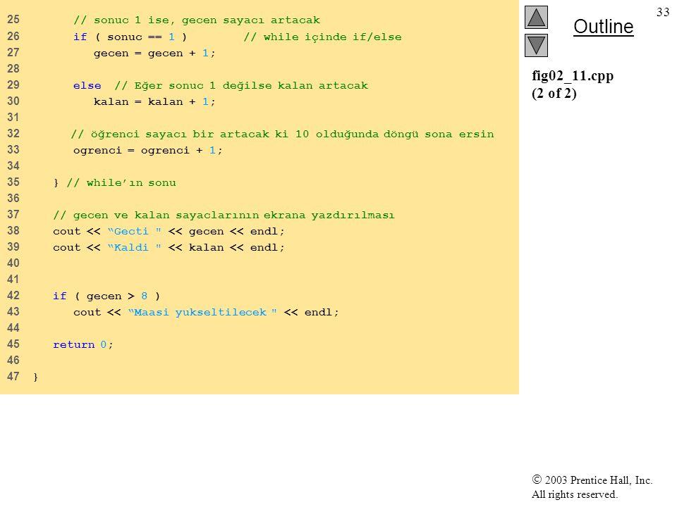 fig02_11.cpp (2 of 2) 25 // sonuc 1 ise, gecen sayacı artacak