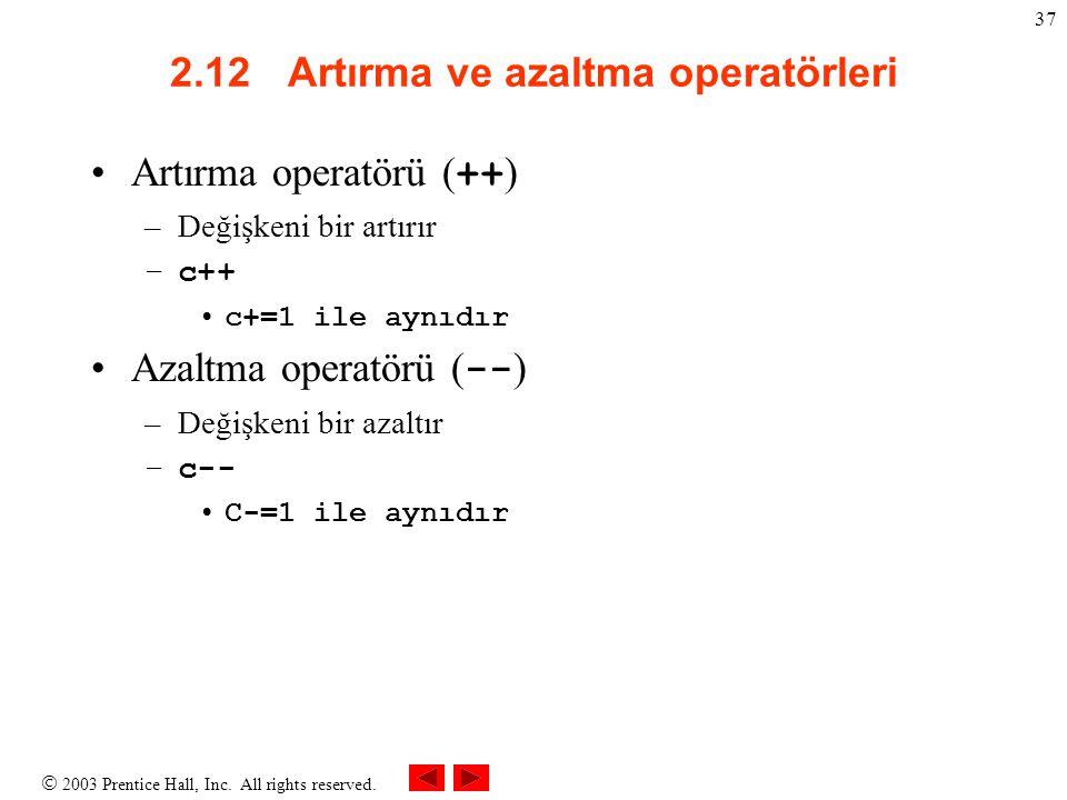 2.12 Artırma ve azaltma operatörleri