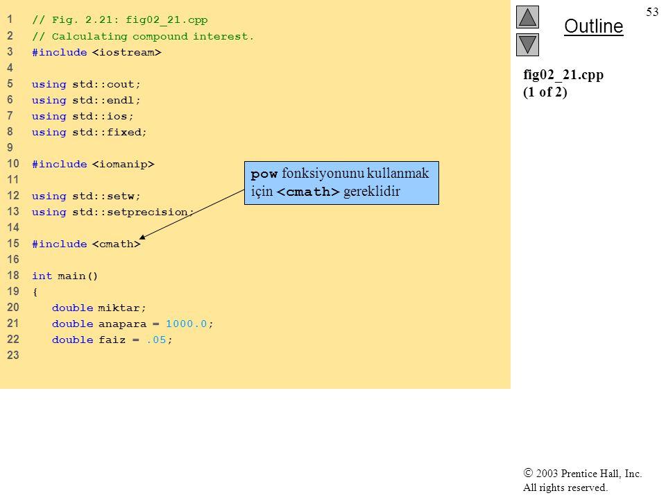 pow fonksiyonunu kullanmak için <cmath> gereklidir