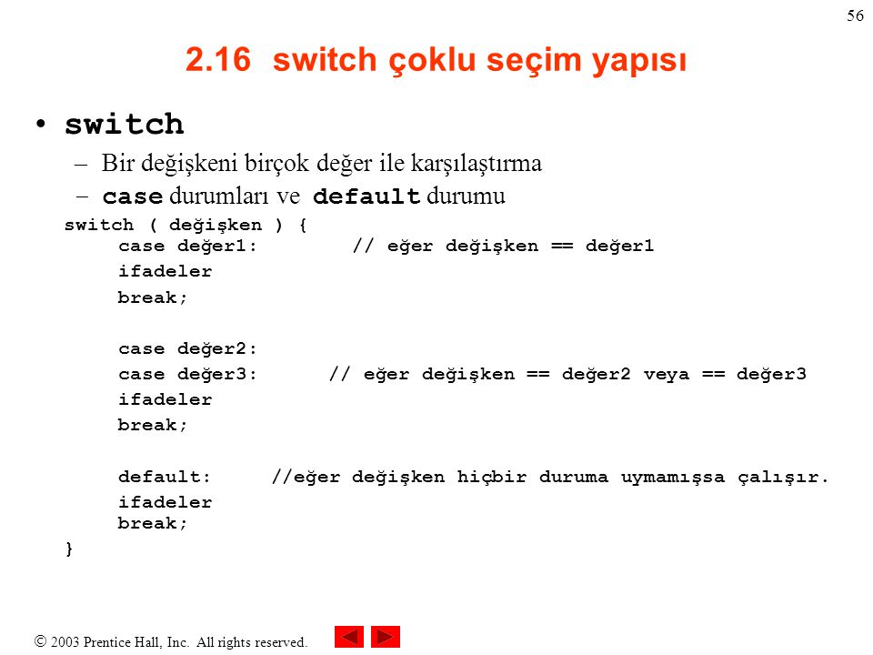 2.16 switch çoklu seçim yapısı