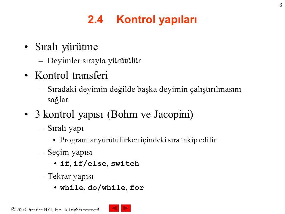 3 kontrol yapısı (Bohm ve Jacopini)