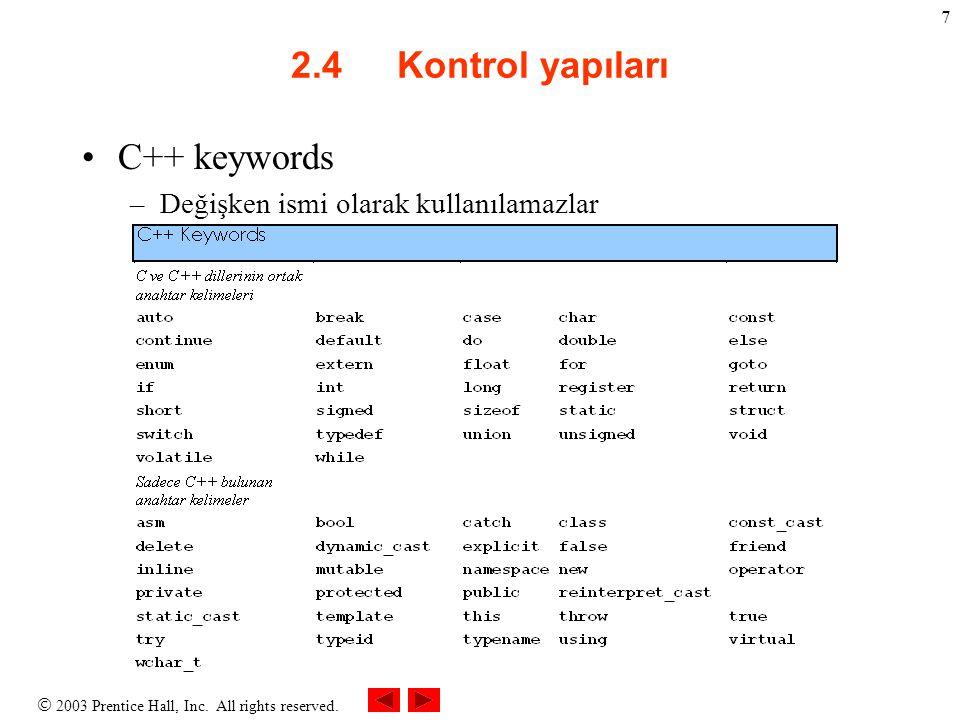 2.4 Kontrol yapıları C++ keywords Değişken ismi olarak kullanılamazlar