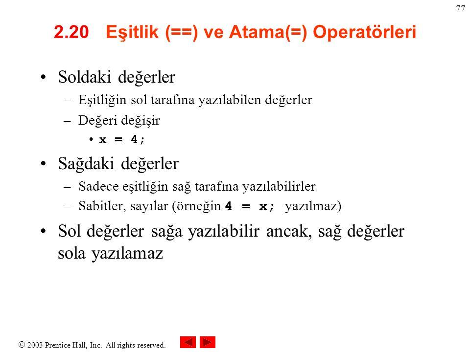 2.20 Eşitlik (==) ve Atama(=) Operatörleri